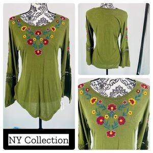 NY Collection olive lace bell sleeve floral tunic